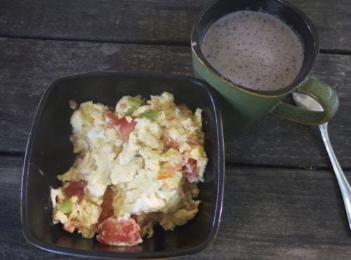 Egg Veggie Scramble and Smoothie