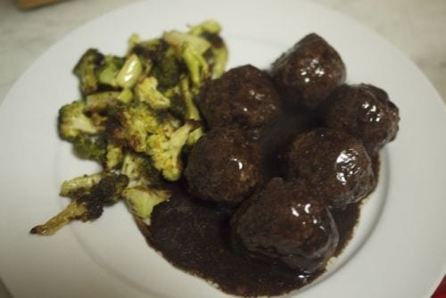 Grassfed Meatballs with a Heavy Red Wine Reduction and Roasted Bocholi
